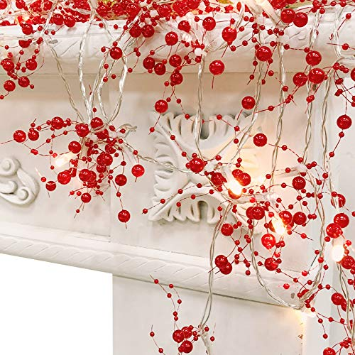 TURNMEON 10FT 30LED Christmas String Lights Battery Powered for Christmas Decorations, Christmas Garland for Fireplace Mantel Indoor Outdoor Christmas Decoration, Christmas Warm White Lights (Red)