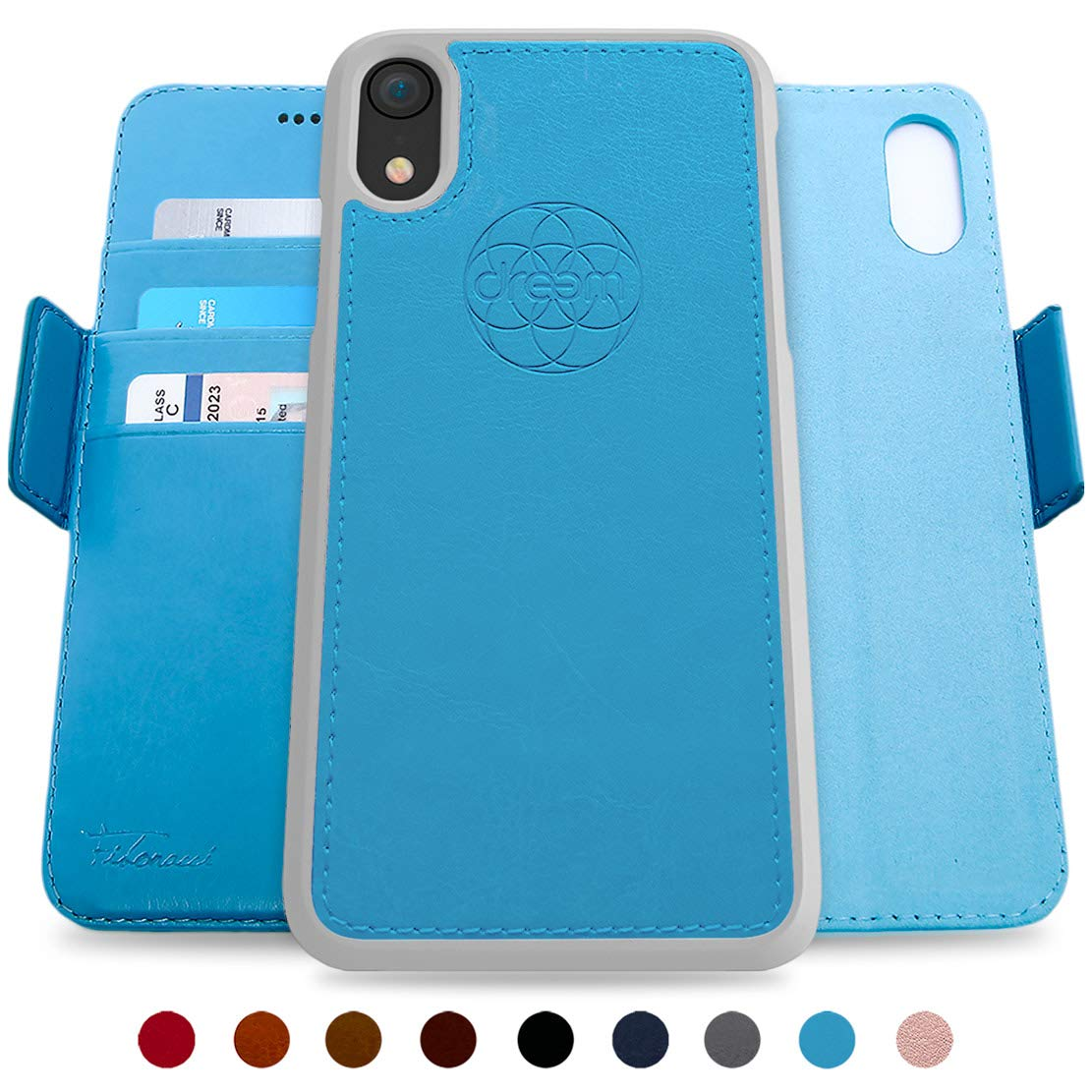 Caramel RFID Protection Dreem Fibonacci 2-in-1 Wallet-Case for iPhone 11 Luxury Vegan Leather 2-Way Stand Magnetic Detachable Shock-Proof TPU Slim-Case Gift-Box Wireless Charging OK