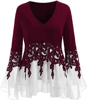 Womens Applique Tops,Realdo Fashion Casual Lace Flowy Chiffon V-neck Long Sleeve Blouse Tops