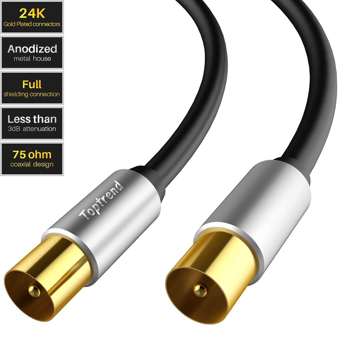 Toptrend Cable de antena coaxial RG59 de 75 ohmios, para TV, STB, DVD, VCR, receptor de satélite (1,8 m)