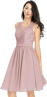 Zhongde Women's V-Neck Lace Bodice Knee Length Bridesmaid Dress Short Chiffon Evening Party Gown