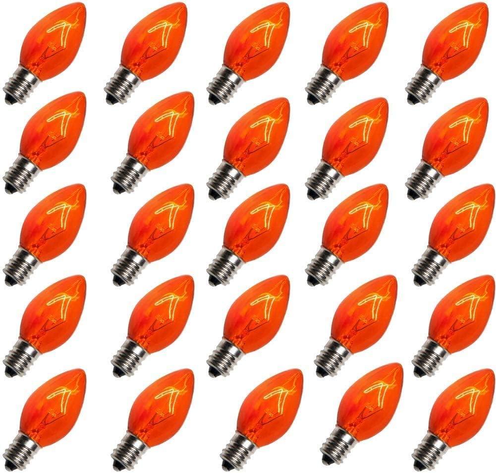 Romasaty 25 Pack C7 Orange Halloween Replacement Bulbs C7 Clear Outdoor String Light Replacement Bulbs, C7/E12 Candelabra Base, 5 Watt