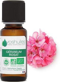 Huile Essentielle BIO de Géranium Rosat - 100% Pure et Naturelle – HEBBD et ECOCERT - Nombreuses Propriétés en Aromathérap...