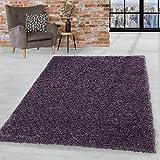 HomebyHome Hochflor Shaggy Teppich Wohnzimmerteppich Schlafzimmer Flor Super Soft Violet, Farbe:Violett, Grösse:200x290 cm