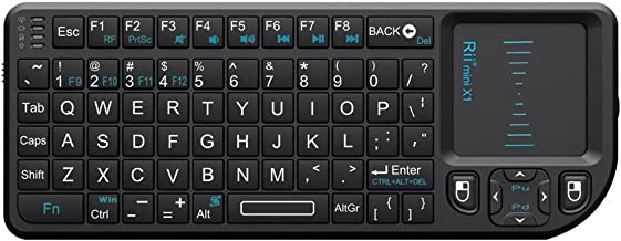 Rii 2.4G مینی صفحه کلید بی سیم با پد ماوس، کنترلر صفحه کلید بی سیم قابل حمل سبک با کنترل از راه دور USB گیرنده برای ویندوز / مک / آندروید / PC / قرص / تلویزیون / Xbox / PS3. X1-سیاه