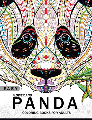 Easy Flower and Panda Coloring book for Adults: An Adult coloring Book