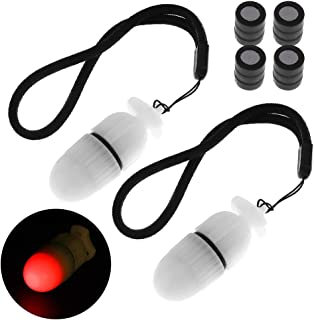 SecurityIng 2Pc Underwater Strobe Signal Light Scuba Night Dive Marker LED Flashy Safety Lamp Firefly Diving Beacon Beam 200M Underwater 200 Hour Duration with Battery