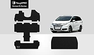 ToughPRO Floor Mats 1st + 2nd + 3rd Row + Cargo Mat Compatible with Honda Odyssey (7 Passenger) - All Weather - Heavy Duty - (Made in USA) - Black Rubber - 2011, 2012, 2013, 2014, 2015, 2016, 2017