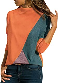 61170d7713b Pumsun Women Casual Splicing Color Collision Long Sleeves Plus Size Easy  Tops Blouse