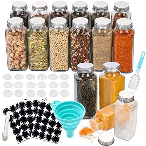 Kiousrm 16 Stück Gewürzgläser, 180 ml Quadratische Glasbehälter Gewürzdosen mit Deckel, Trichter, Whiteboard-Stift, Etikett, Reinigungsbürste,Gewürzglas sehr gut zum Würzen geeignet