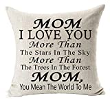 Best Gifts for Mom I Love You More Than The Stars in The Sky You Mean The World to Me Blessing Cotton Linen Throw Pillow Case Cushion Cover Home Office Decorative Square 18 X 18 Inches