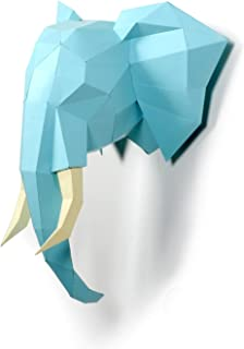 Timorn DIY Pre-Cortado Papercraft Ensamblaje Kit 3D Wall Elefante Head Trophy (Elefante)