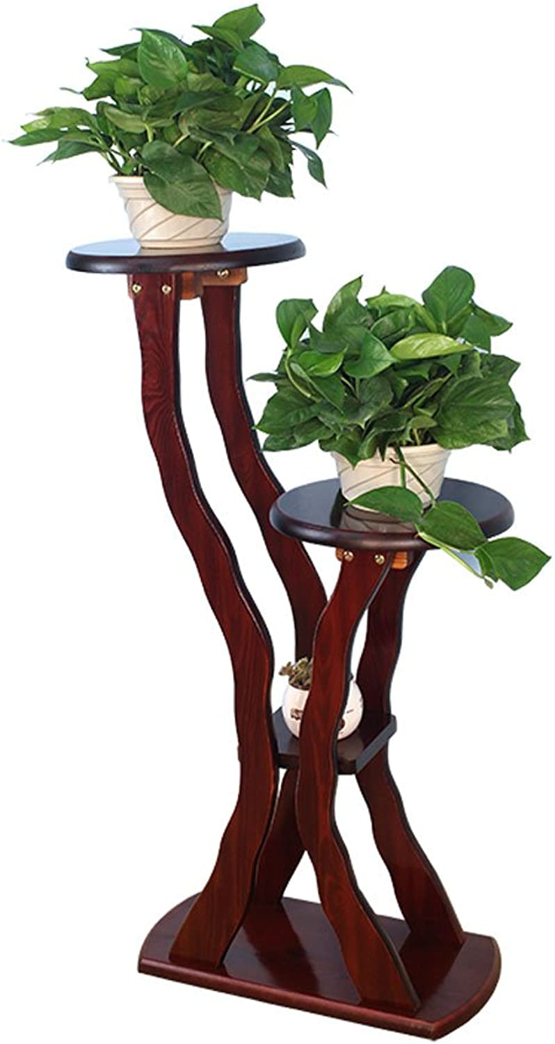 SYF Wood Bonsai Balcony Living Room Indoor Flower Stand Green Radiant Multi-Layer Wooden Flower Stand 48x24x95cm A+ (color   A)