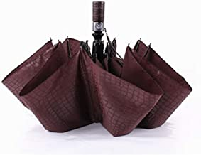 Fully Automatic High strength Umbrella Men Three fold Windproof Imitation Crocodile Skin Large Parasol,Coffe
