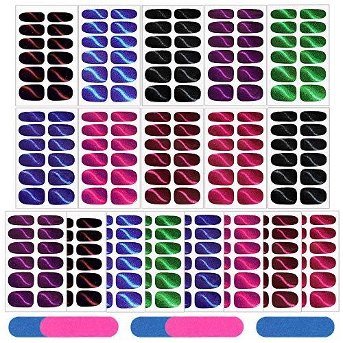 Gobesty Glitzer Nagelaufkleber, 18 Blatt Glitzer Nagelaufkleber mit Nagelfeilen Selbstklebend Nagelfolie Katzenauge Nagelsticker für Schnell&Einfach Maniküre, Nagel Klebefolien