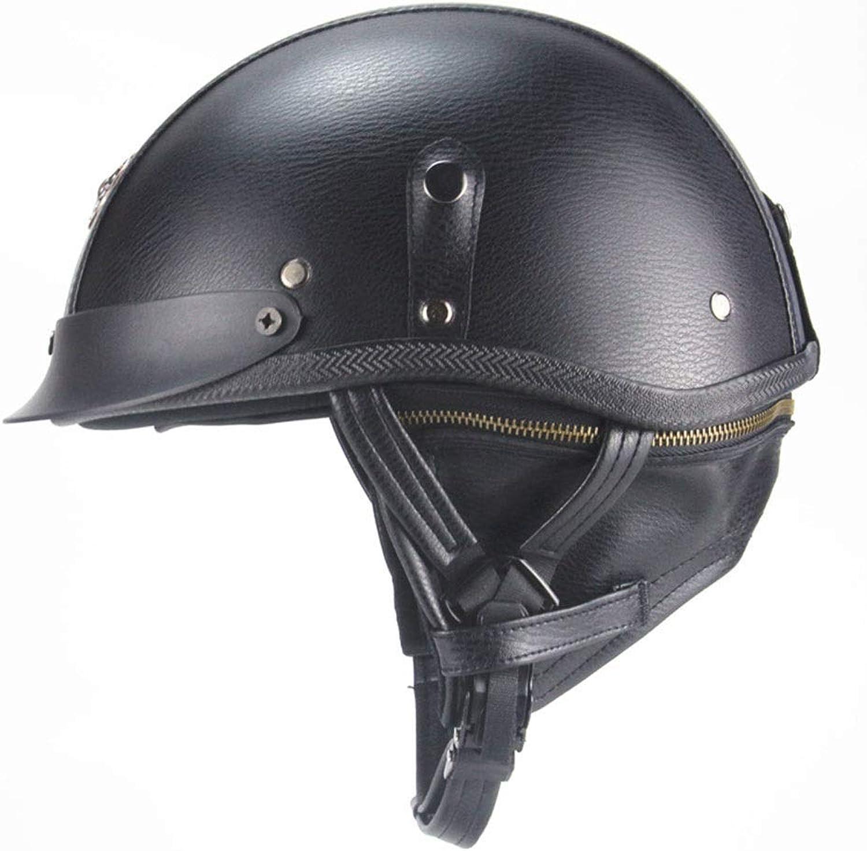 Songlin@yuan Motorcycle Harley Helmet Retro Creative Personality Half Helmet Summer Pedal Locomotive Cruise Leather Helmet Four Seasons Men and Women ABS Shell Predection