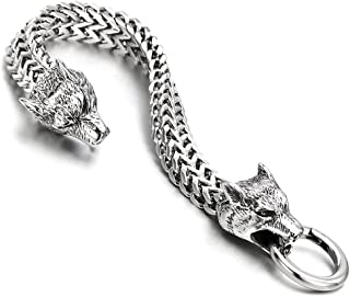 Biker Mens Stainless Steel Wolf Head Franco Link Curb...