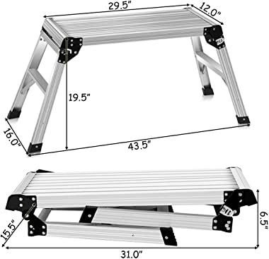 Giantex Work Platform Aluminum Step Ladder Drywall Safe CE Approved of Capacity 330 LBS Heavy Duty Portable Bench Folding Lad