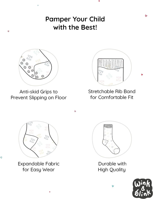 Wink & Blink Unisex Organic Baby Crew Socks with non-slip grip , pair of 8, Organic Cotton