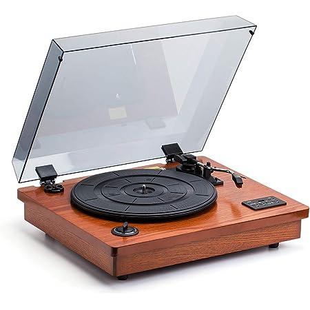 HOFEINZ 天然木材 スピーカー内蔵 レコードプレーヤー/Bluetooth プレーヤー/MP3録音プレーヤー…