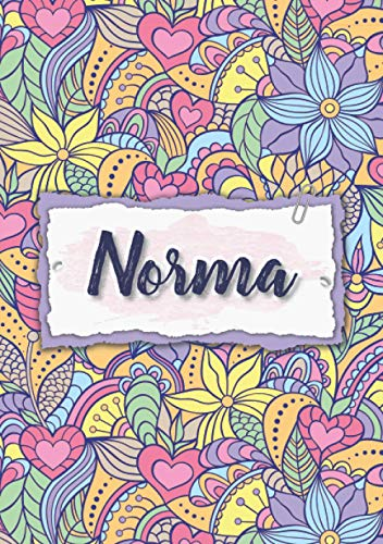 Norma: Notebook A5   Personalized name Norma   Birthday gift for women, girl, mom, sister, daughter ...   Design : floral   120 lined pages journal, small size A5 (5.83 x 8.27 inches)