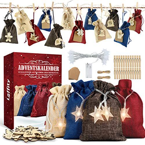 Laffity Adventskalender zum Befüllen, 24 Geschenksäckchen, 1-24 Adventskalender Zahlen Holz Deko und 3M 20LED, Weihnachtskalender Geschenksäckchen zum Befüllen