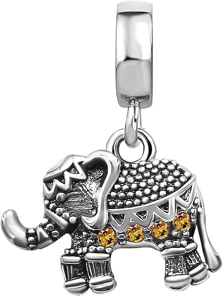 TGLS Women Girls Limited Special Las Vegas Mall Price Lucky Animal Jan-Dec Birthstone Elephant Charm