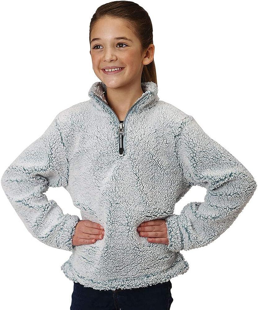Roper Girls Blue Fuzzy Polar Fleece 1//4 Zip Pullover