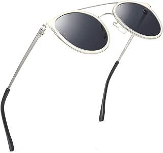 Polarized Sunglasses for Small Face Women Men Ultra Lightweight Metal Frame Double Bridge UV400 Protection