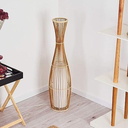 Lampadaire Saranda en bambou et tissus blanc, élégant luminaire de salon de style Boho avec interrupteur sur le câble, hauteur 91 cm, pour 1 ampoule E27 max. 40 Watt, compatible ampoules LED
