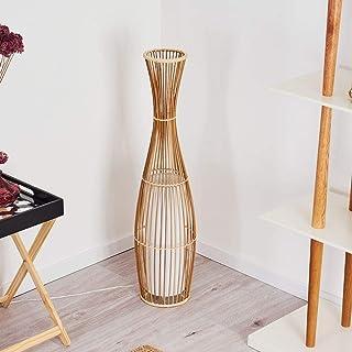 Lampadaire Saranda en bambou et tissus blanc, élégant luminaire de salon de style Boho avec interrupteur sur le câble, hau...