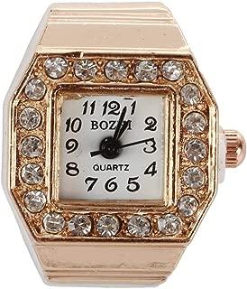 WGY Quadratisches Zifferblatt Glitter Crystal Decor Gummiband Fingerring Uhr Kupfer Ton Für Lady Uhren Schmuck