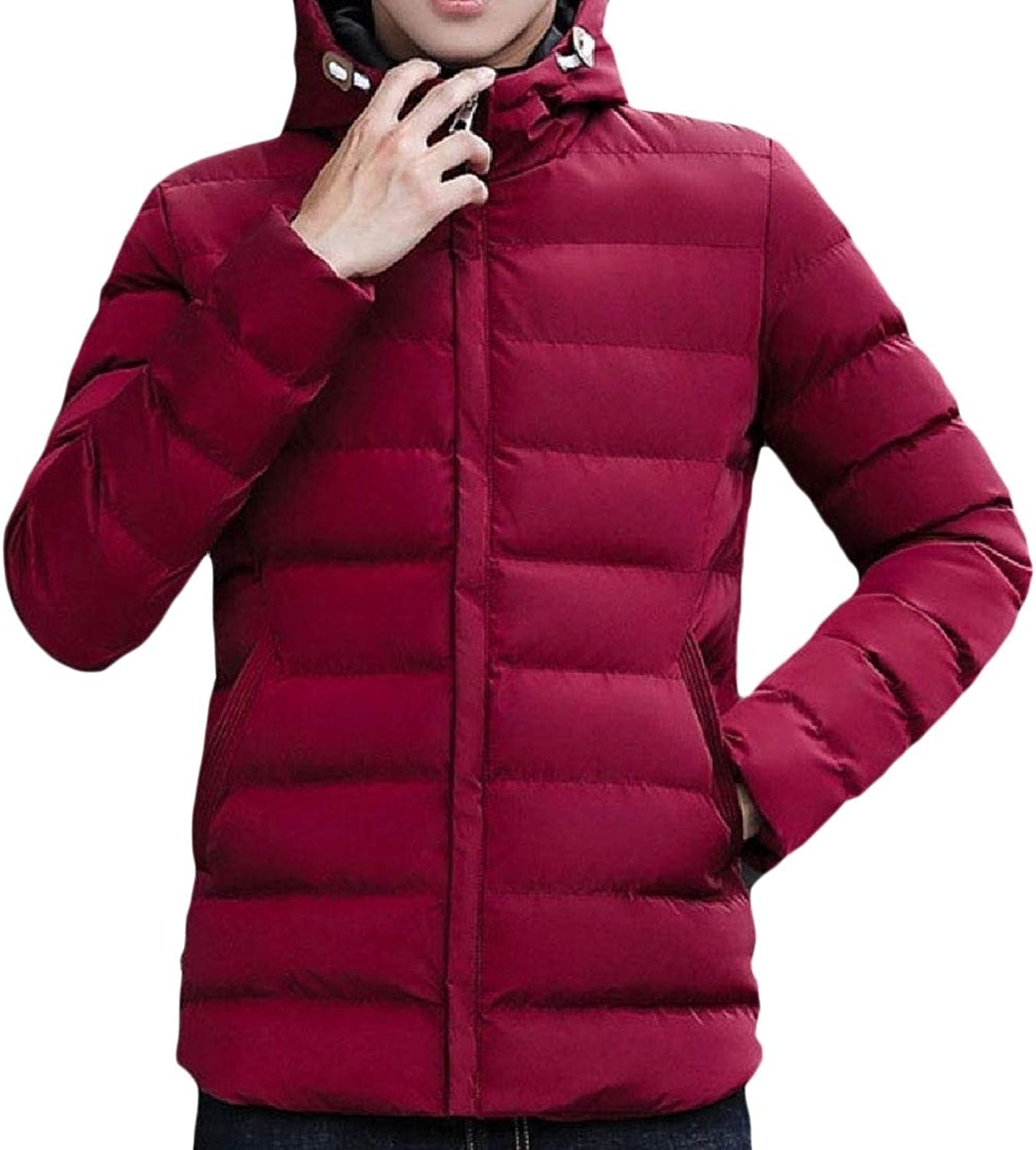 - Zimase Mens Hooded Packable Solid color Outwear Outdoors Down Down Down Coats add03a