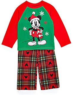 Mickey and Minnie Mouse Christmas Holiday Family Sleepwear Pajamas (Adult/Kid/Toddler) (2T, Toddler Mickey)