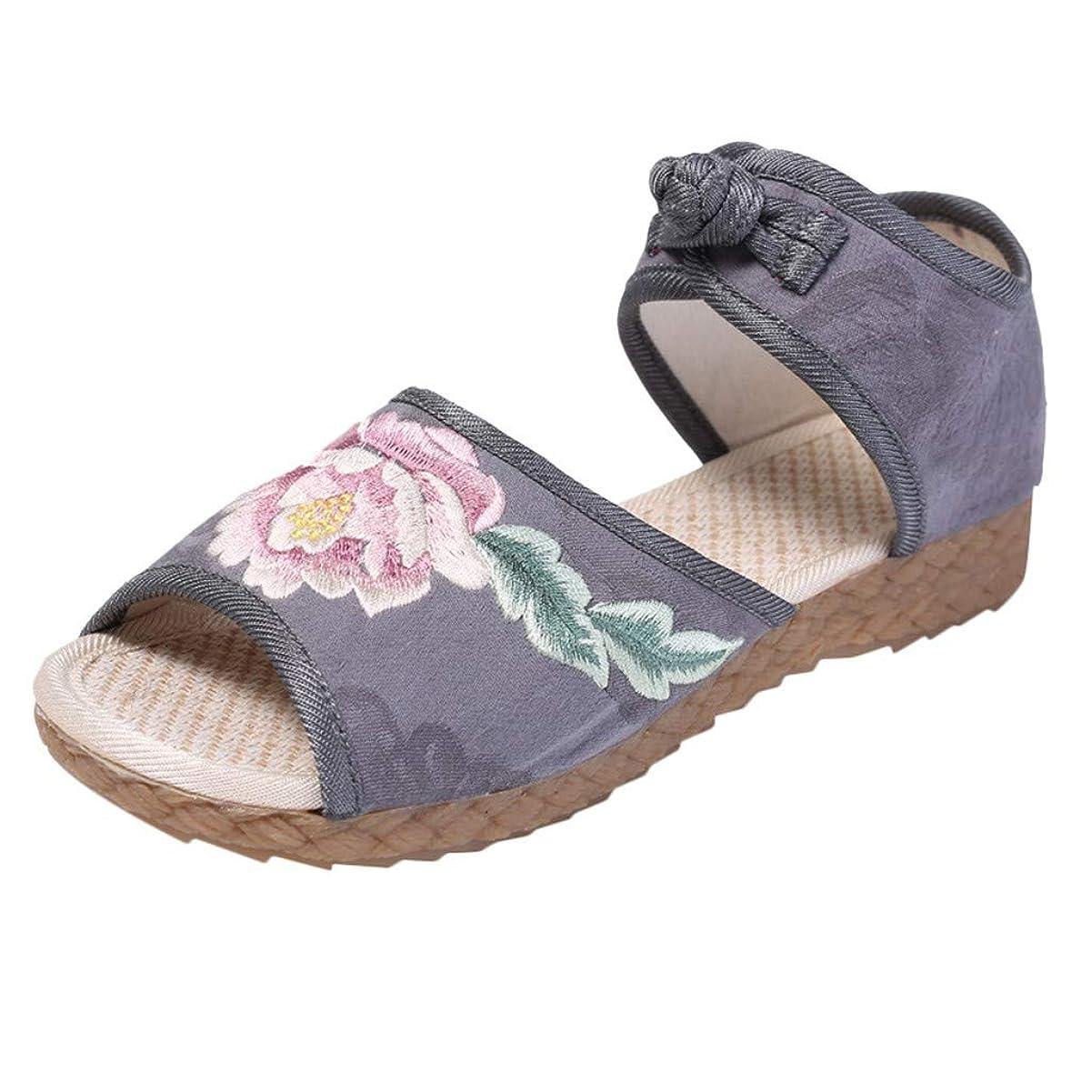 銛送る腫瘍Top Homie レディース かわいい 厚底 古風 花柄 インヒール サンダル おしゃれ 女性 女の子 履きやすい 歩きやすい 美脚 オープントゥ 中国風 靴