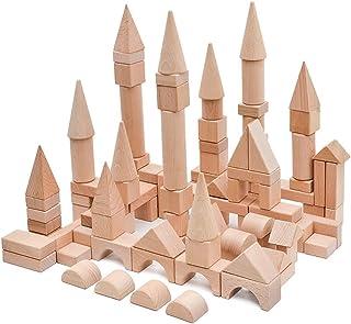 Wooden Building Blocks Toy Sets, 100 Pcs Stacking Game Toys with Storage Box/Castle Building Planks Set for Kid Kindergarten