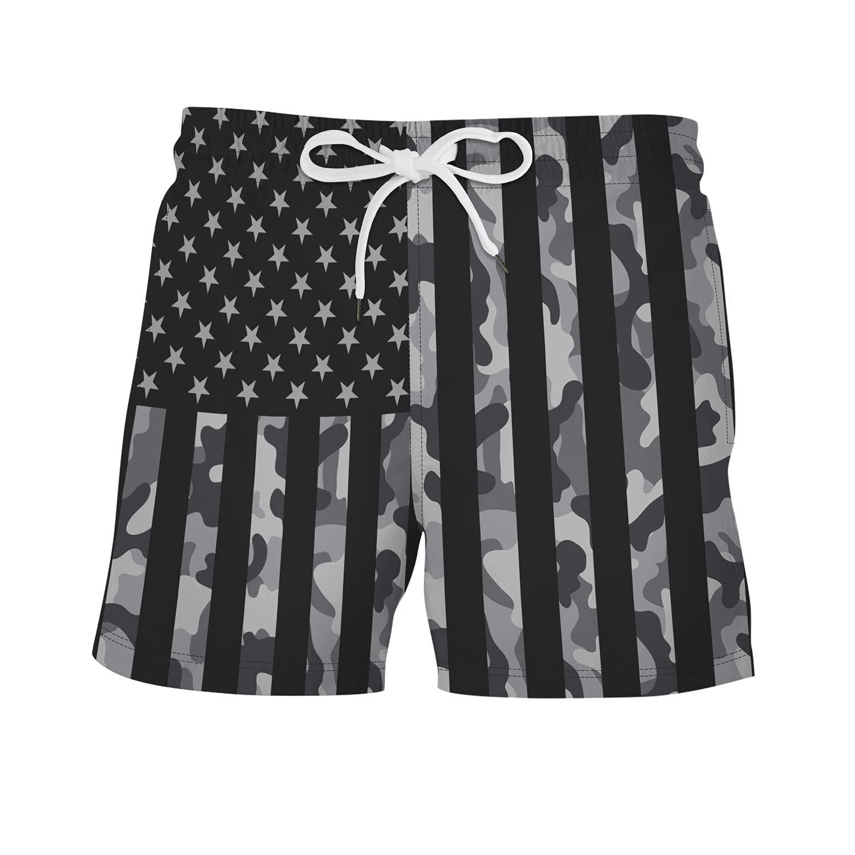 Men's Swim Trunks Colorful Striped Beach Board Short Drawstring Elastic Waist Shorts Quick Dry with Mesh Lining Short-pant (Black,X-Large)