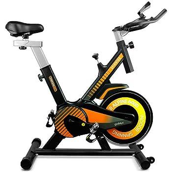 SHUOQI Bicicleta estáticas para Fitness, Bici de Spinning, Calidad Profesional, Rueda de inercia bidireccional,Transmisión por Cadena Fija,Asiento Ajustable, Pantalla LCD: Amazon.es: Deportes y aire libre