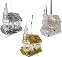 BANBERRY DESIGNS Glittered Christmas Ornament - Set of 3 Clear Acrylic Light Up Church Ornaments - Gold, Silver and Iridescent White Painted Glitter with White LED Lights