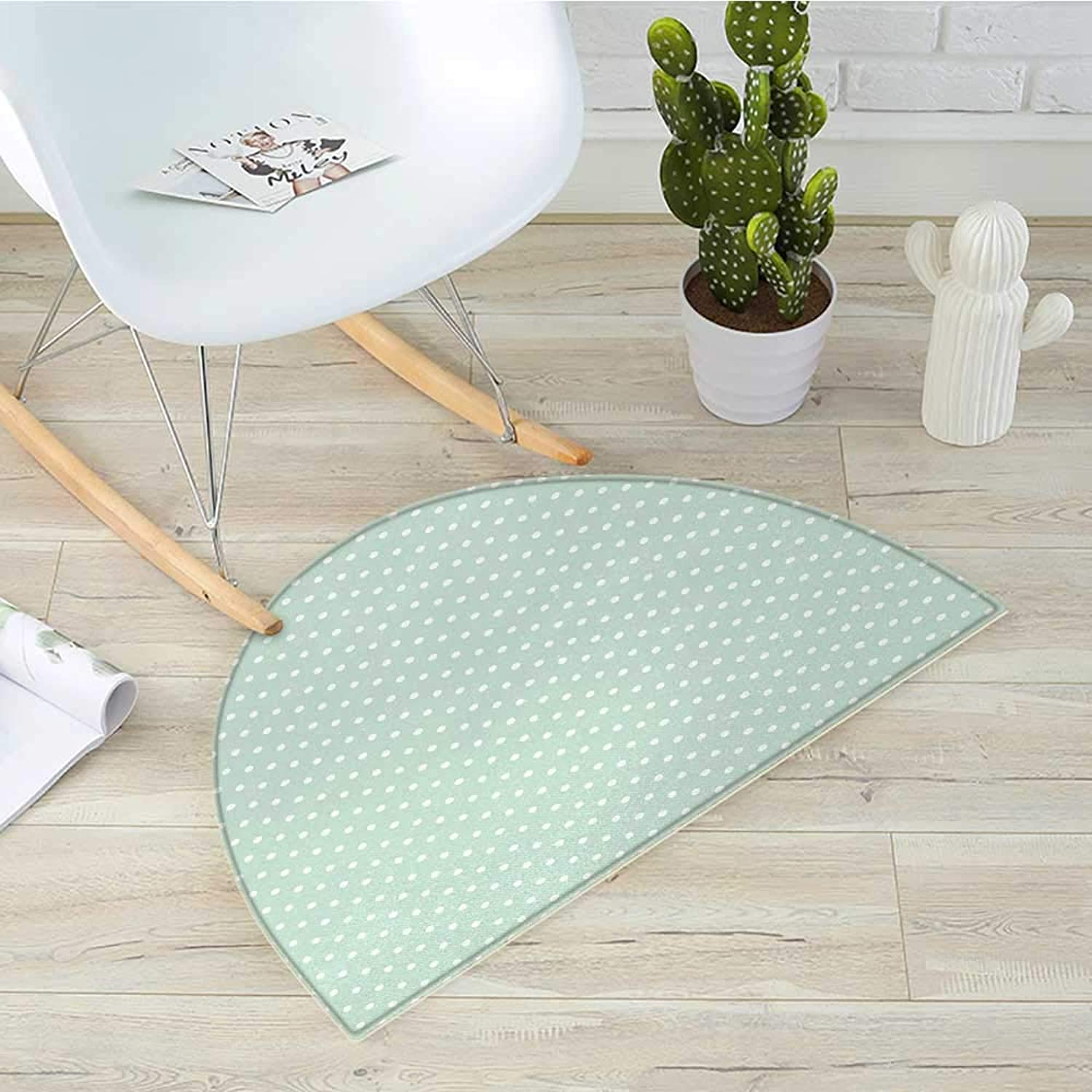 Green Semicircular CushionRetro Style Baby Nursery Themed Pattern with Little White Polka Dots Pastel Entry Door Mat H 35.4  xD 53.1  Mint Green White