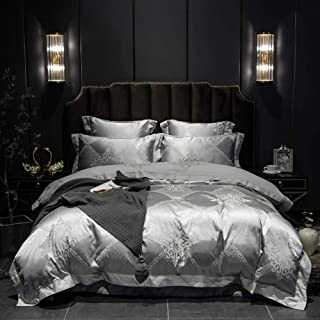 Papa&Mima Luxury European Silver Plaids Duvet Cover Set Bedding - Silk Cotton Jacquard Embroidery - Duvet Cover,Flat Sheet,Pillow Cases (Queen86x94inch)