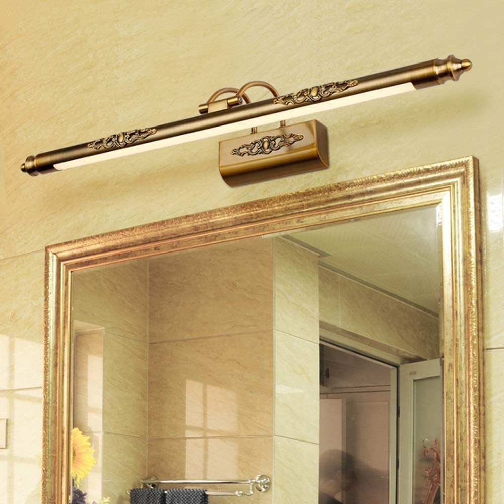 MingXinJia Badezimmerspiegel Frontleuchten, Antike Led Make Up Spiegelleuchte Wandleuchten Schwinge Bilderleuchten WandmontageWarmes Licht-50cm Kühles Weiß-70cm