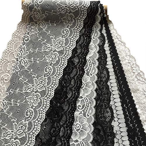 LaceRealm 7 Inch Assorted Black and White Embroidery Floral Stretchy Lace Elastic Trim Fabric for Garment and DIY Craft Supply- 8 Assorted Patterns,1 Yard Each