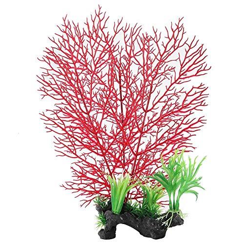 Naroote Aquarium Korallenpflanze,Aquarium Wasserpflanze Dekor Plastikkorallenwasser Anlage, k¨¹nstliche Gef?lschte Anlagen für das Aquarium Aquarium, das Dekor Verzierung landschaftlich gestaltet(rot)