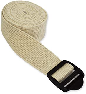 (Tan) - Yogaaccessories 1.8M Cinch Buckle Cotton Yoga Strap. Free Shipping