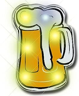 Beer Mug Flashing Blinking Light Up LED Body Light Lapel Pins (5-Pack)