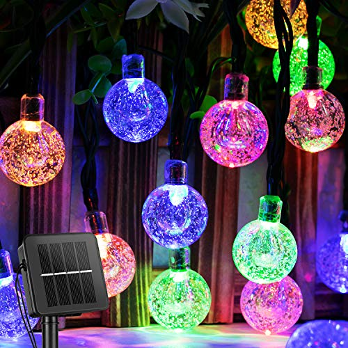 Solar String Lights Outdoor 60 Led 35.6 Ft Crystal Globe Lights with 8 Lighting Modes, Waterproof Solar Powered Patio Lights for Garden Yard Porch Wedding Party Decor (Multicolor)