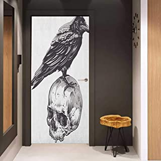 Door Sticker Scary Scary Movies Theme Crow Bird Sitting on a Human Old Skull Sketchy Image Glass Film for Home Office W30 x H80 Charcoal Grey White