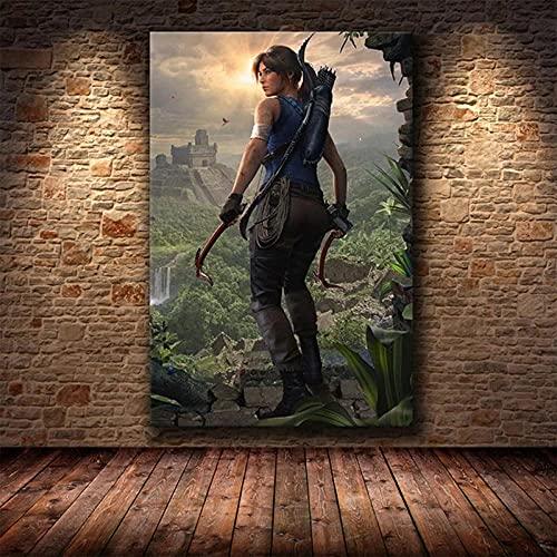 baixiangguo de Tomb Raider Cuadros Decoracion Salon Modernos Mural Fotos para Salon, Dormitorio, BañO, Comedor (con Marco) -60x120cm
