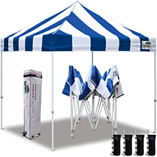 Eurmax 10'x10' Ez Pop Up Canopy Tent Commercial Instant Canopies with Heavy Duty Roller Bag,Bonus 4 Sand Weights Bags